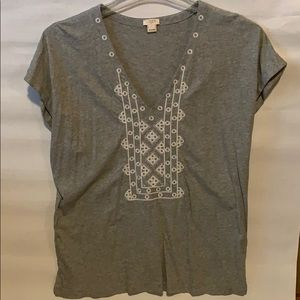 J. Crew gray with white embroidery detail size L